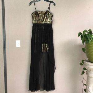 Gold & black sequin cocktail dress w/ skirt